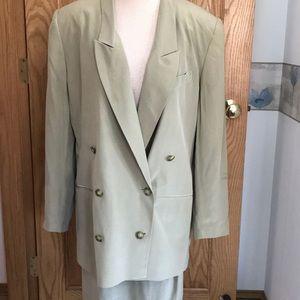 Tan silk long blazer & skirt set